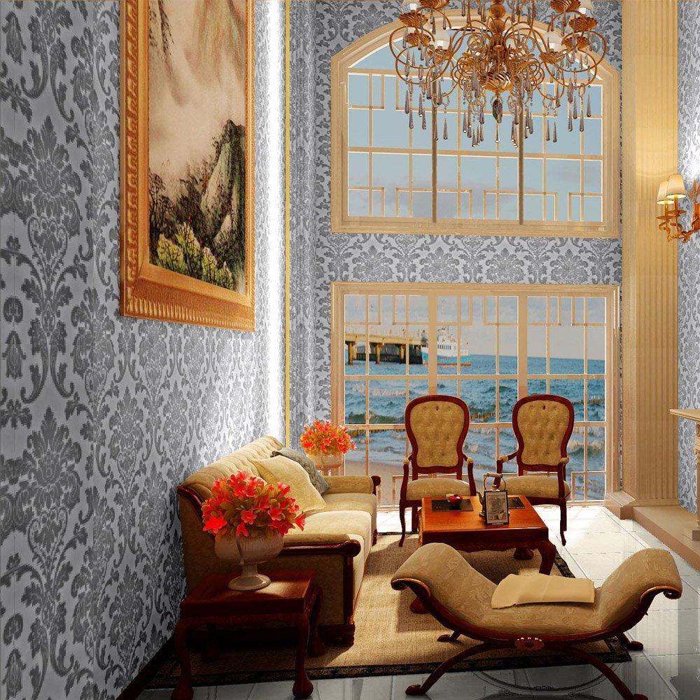 欧式无纺布墙纸大马士革印花卧室客厅背景