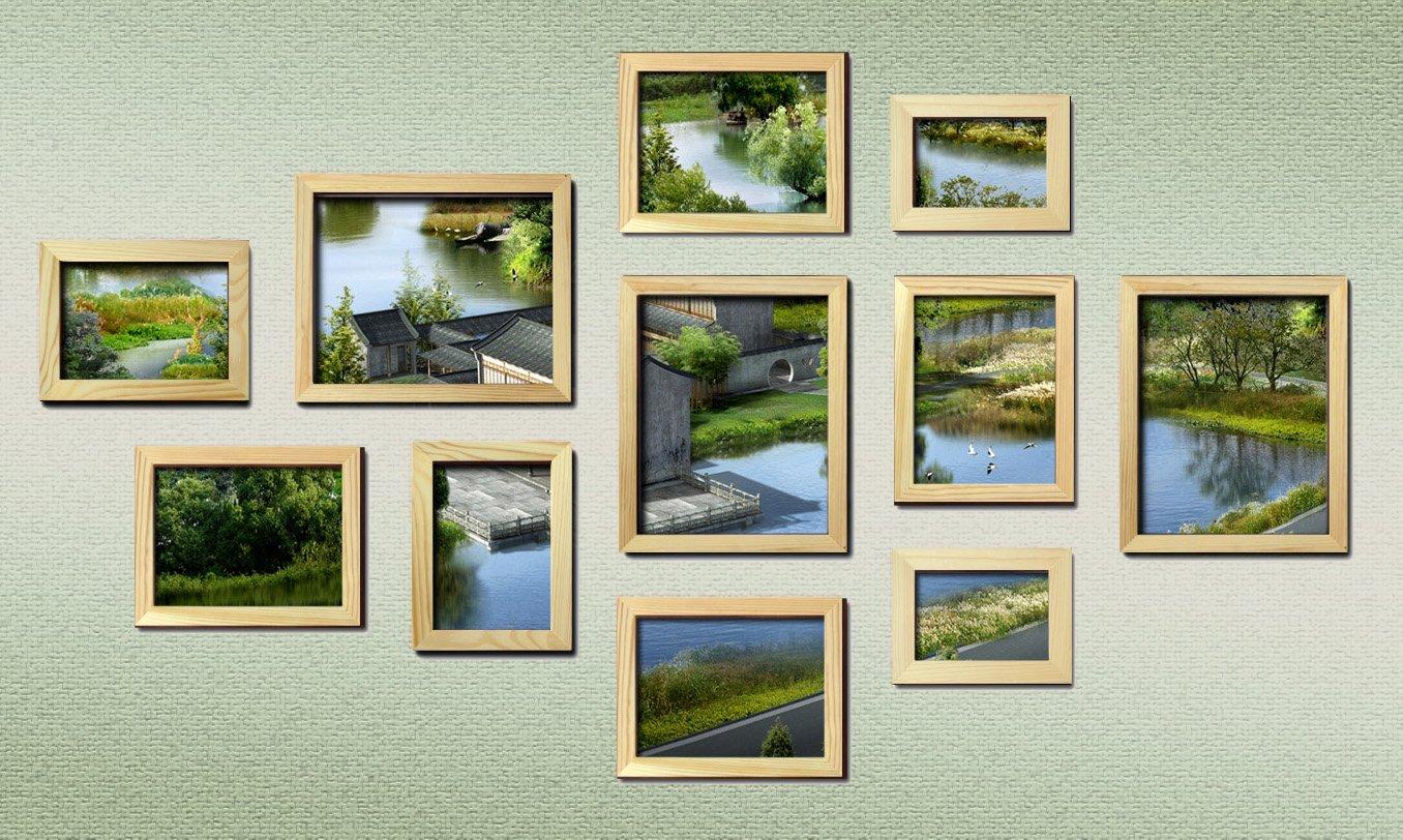 佳美11相框实木照片墙组合-102原木色
