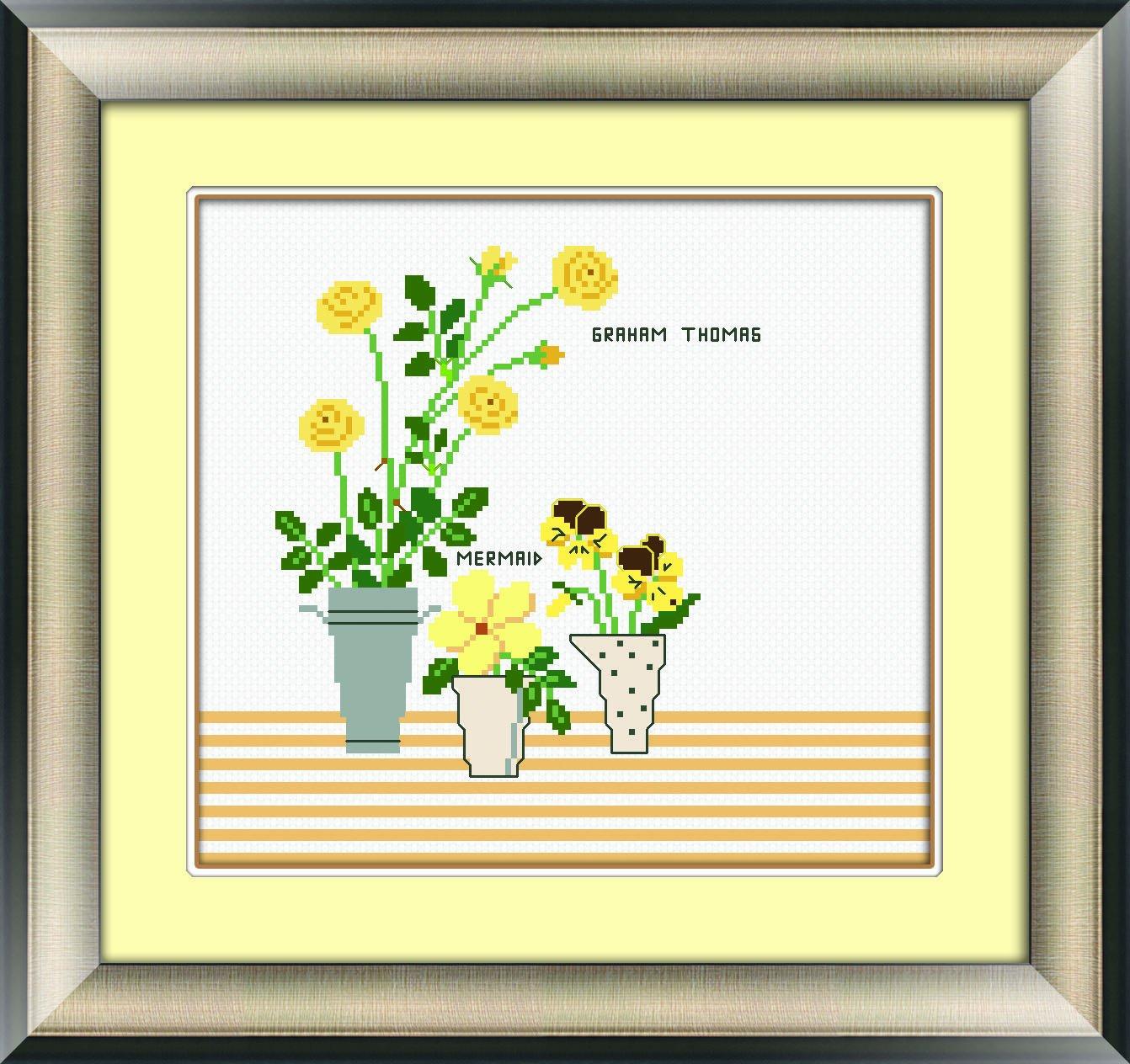 多美绣 dmc法国进口绣线 十字绣 花卉-黄色小花 杂志图 14ct