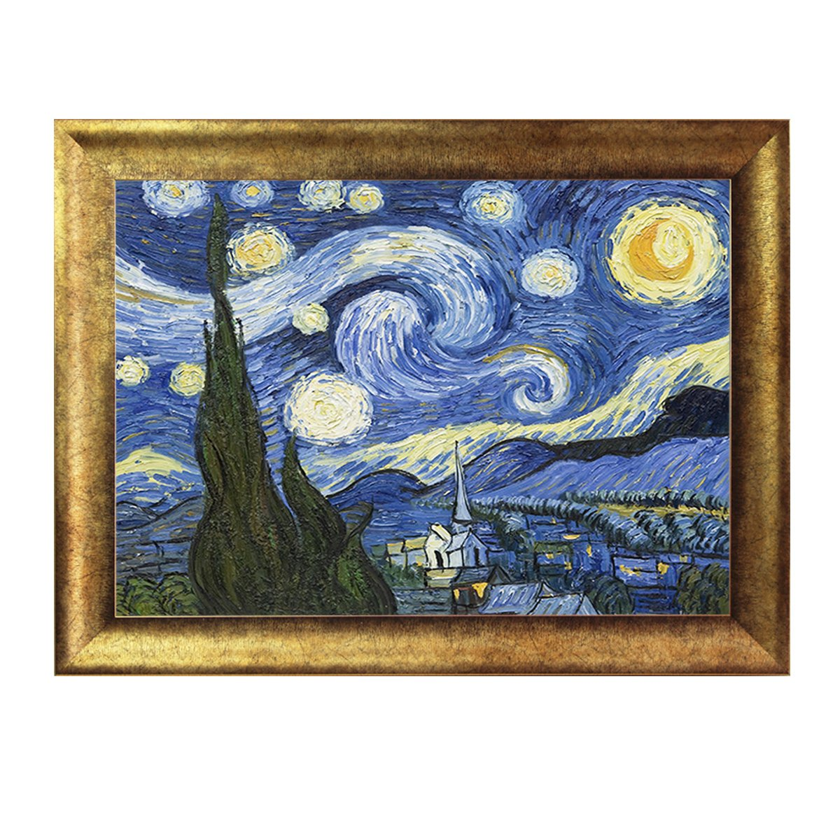 dhhd星空梵高油画 挂画壁画 装饰画 客厅餐现代 星月夜玄关抽象画有框
