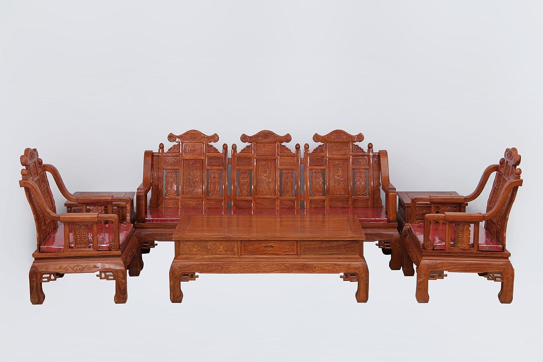 木雕花梨三阳开泰沙发6件套仿古红木沙发组合客厅家具 (缅甸花梨木)