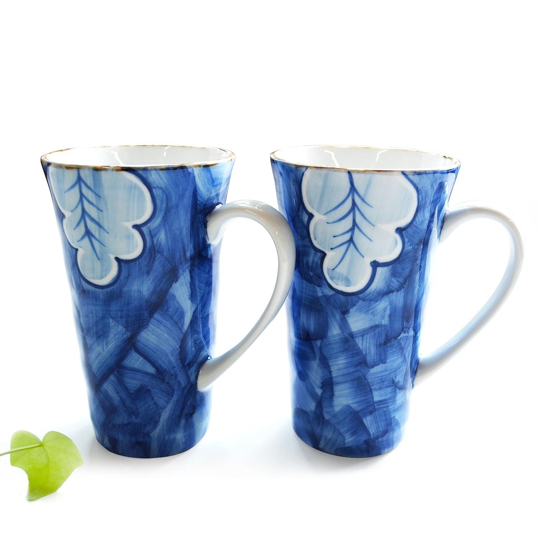马克杯 陶瓷杯 杯子水具 手工彩绘 卡布奇诺 蓝色 情侣水杯 两件装 12