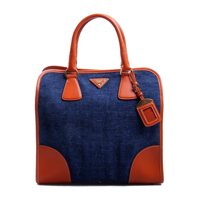 prada(普拉达)蓝色牛仔帆布橘色配皮手提包-服饰箱包