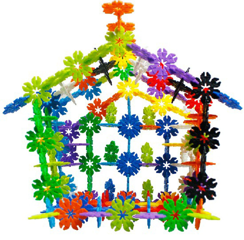 贝旺 益智拼插积木玩具 树叶型雪花片 220粒 桶装 5l图片