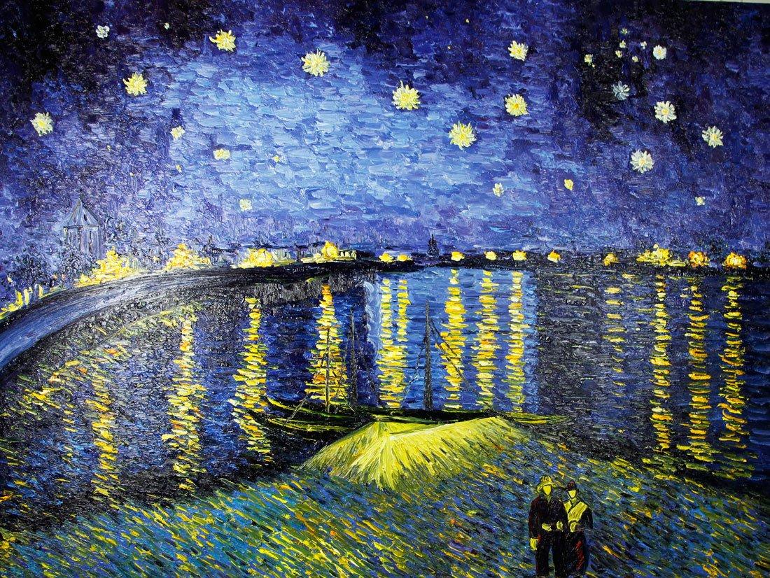 厘米印象纯手绘油画梵高名作临摹作品《罗纳河上的星夜》-- 纯手绘非