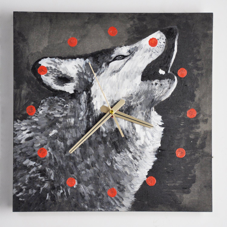 y绮影手绘挂钟方形黑白动物03404002(狼)图片
