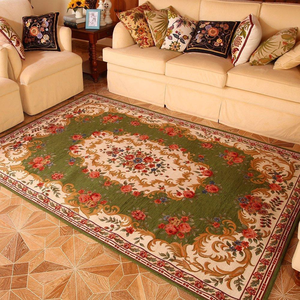 客厅茶几布衣沙发地毯 地中海欧式地毯 卧室床边地毯 (草绿色, 50*80
