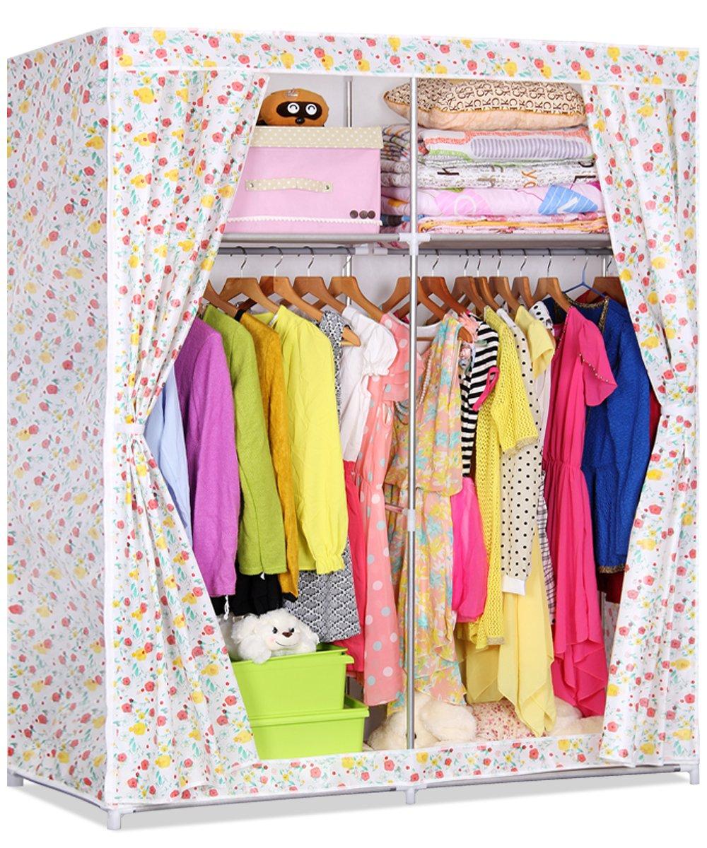 索尔诺简易布衣柜 双人钢管加固大号无纺布衣橱 门帘式拉链衣柜 布