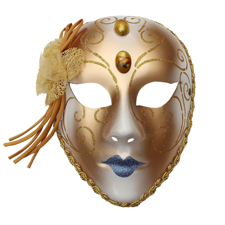 化妆舞会面具威尼斯全脸面具派对面具表演金色高档威尼斯全脸面具