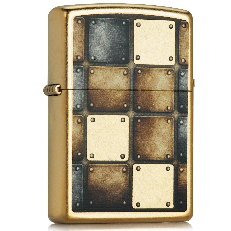 zippo 芝宝 打火机 28539 金属方块 仿古铜单面彩印 黄色