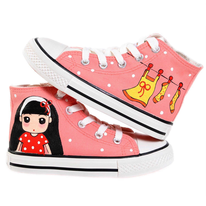 卜丁手绘卡通女孩粉色高帮童鞋帆布鞋女童大小童系带拉链布鞋包邮