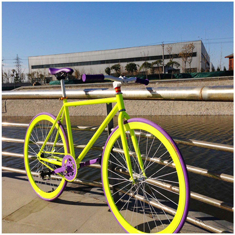 xg 死飞单车700c 倒刹车山地公路自行车 26寸(30刀圈, 紫荧光绿款)