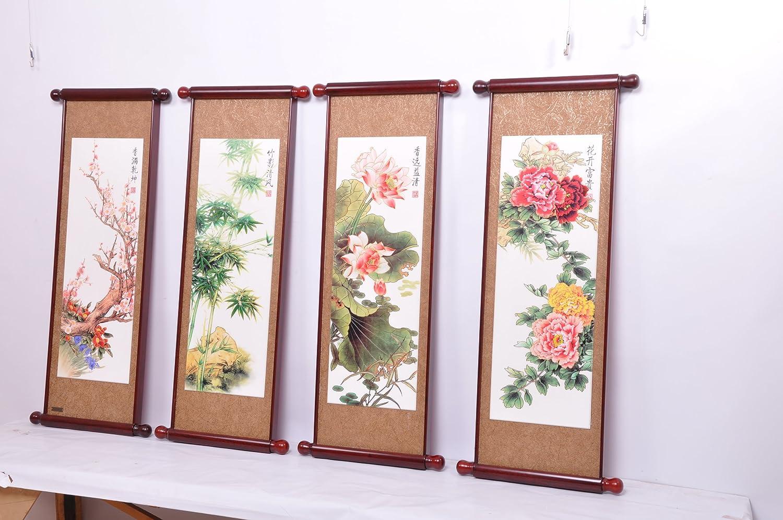 三林堂 春夏秋冬 四条屏木质木刻屏风 客厅中堂画 实木雕刻卷轴书画框