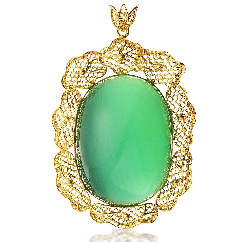18k黄金荷叶花丝镶嵌绿纹石吊坠