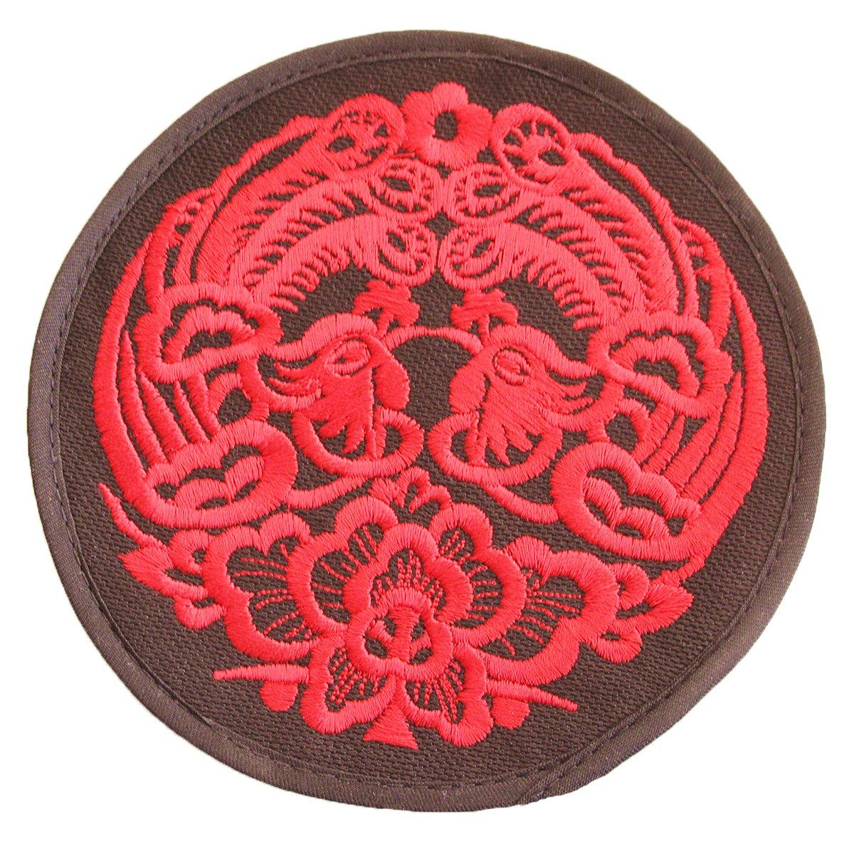 小鸡啄米 布艺鸳鸯绣花杯垫 民族风圆形碗垫盘垫隔热垫 结婚喜庆礼物