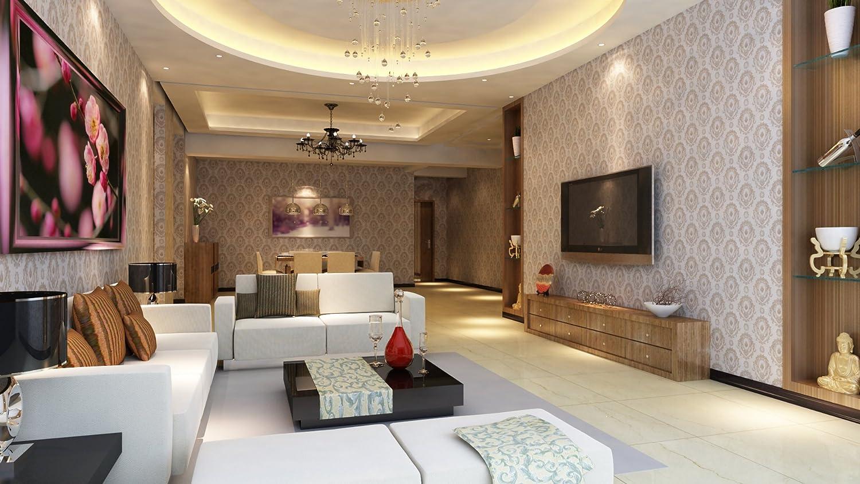 沙发背景墙欧式时尚壁布图片