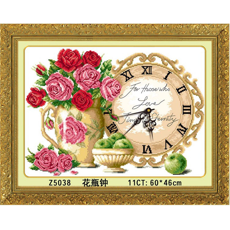 美特卡卡十字绣 钟表系列ks- 5038 花瓶钟 最新款客厅