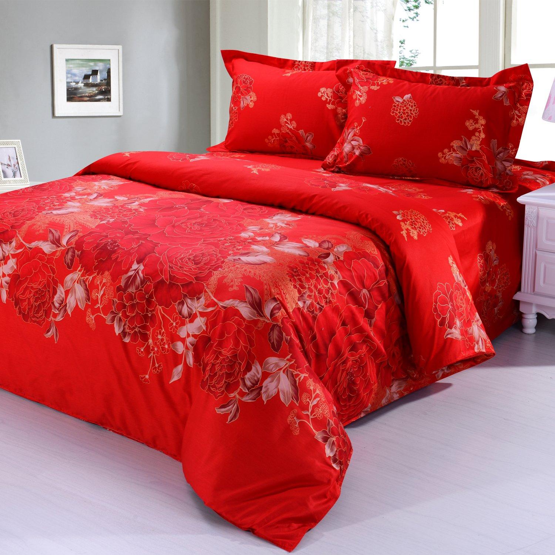 云凡家纺 全棉活性印花床上用品四件套 欧式高档全棉床品 婚庆床上