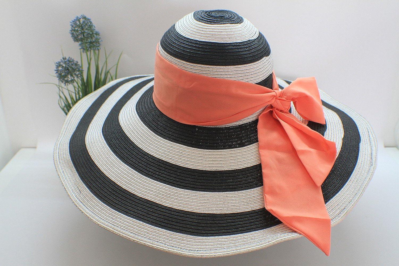 帽子_burisuton 专柜正品 大檐纸编条纹遮阳帽 蝴蝶结 日本时尚帽子 日本帽