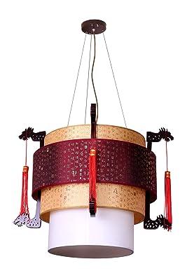 中式木艺龙头吊灯(2270):亚马逊:家居装修