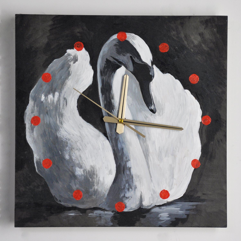 y绮影手绘挂钟方形黑白动物03404002(天鹅)