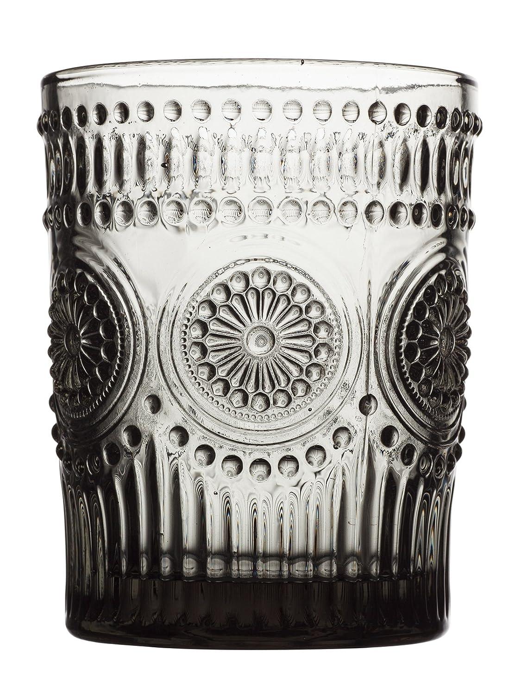 玻璃杯水杯 创意浮雕太阳花 多色欧式复古啤酒杯情侣杯 (烟灰色矮杯