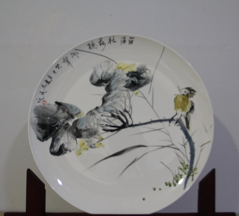 骨质瓷釉上手绘艺术坐盘--留得枯荷听雨声
