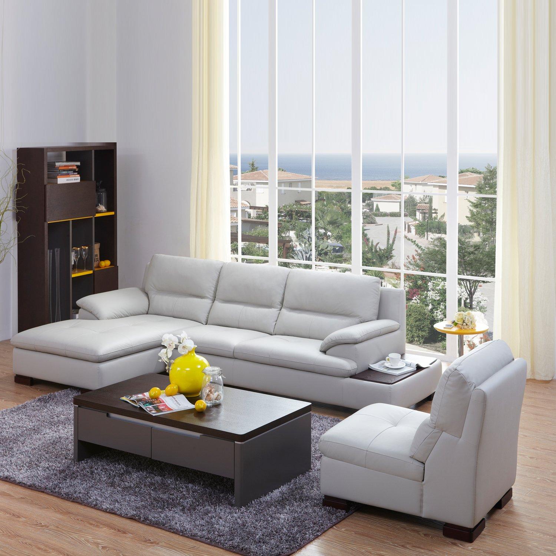 kuka 顾家家居 现代简约真皮沙发客厅组合家具沙发带单人位右躺位1897
