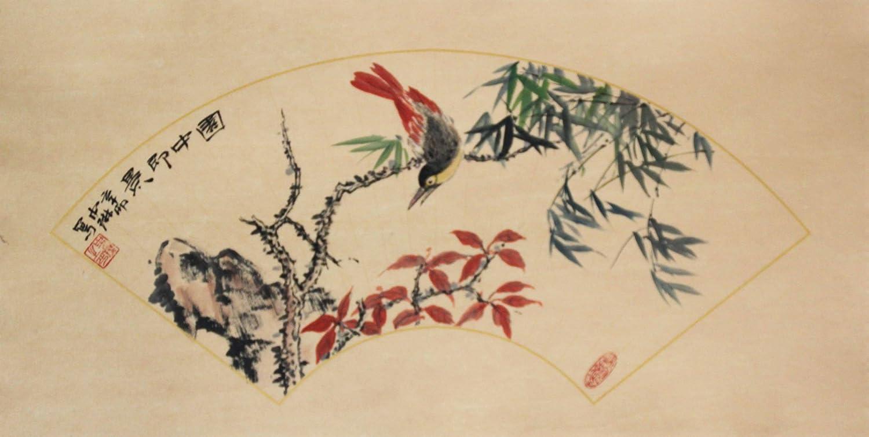 锦翰堂 中琳 国画鸟扇形《园中即景》写意花鸟画 中式办公装饰画 sx图片