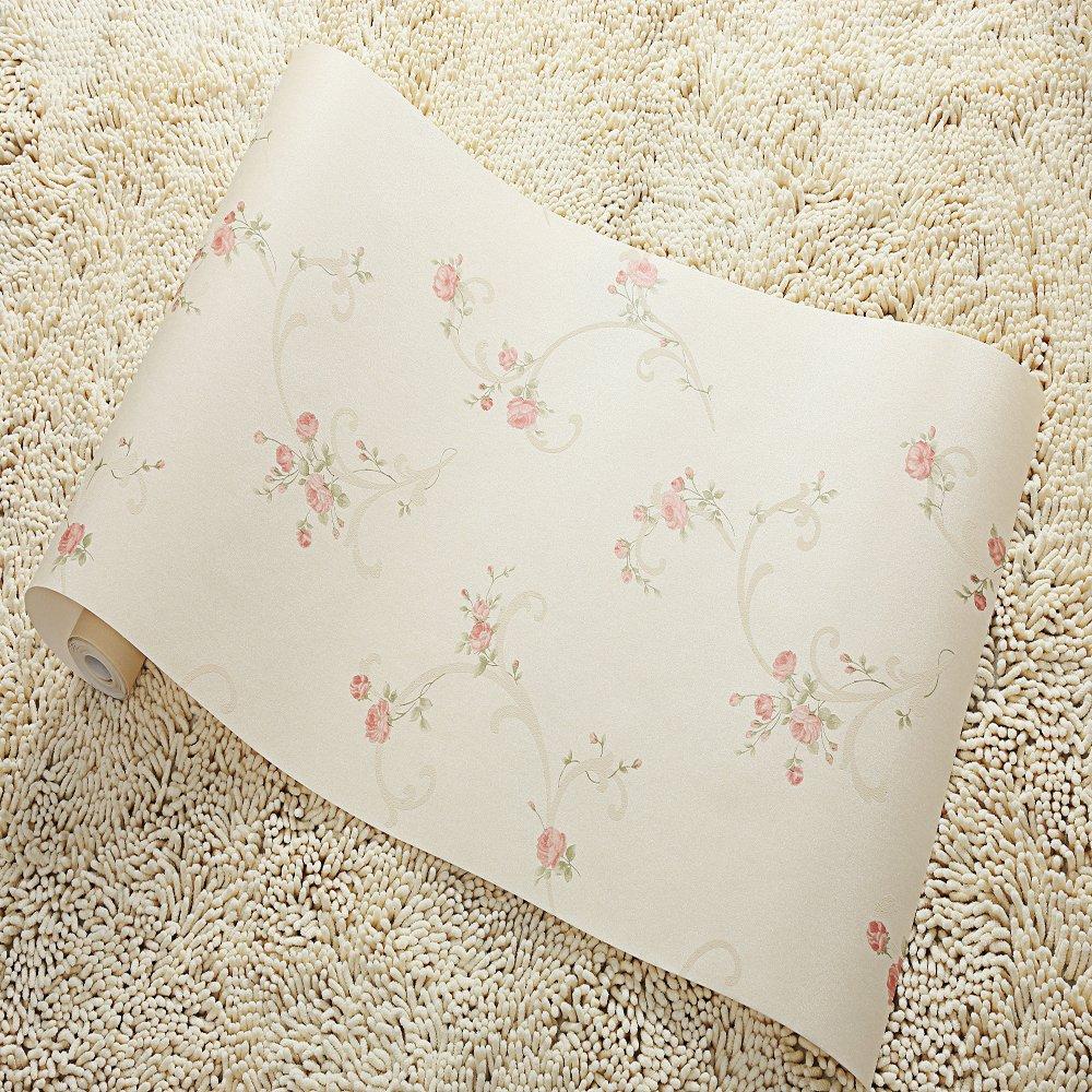 睐可 墙纸 欧式田园风情小花 卷草卧室客厅餐厅满铺背景壁纸52lk2103