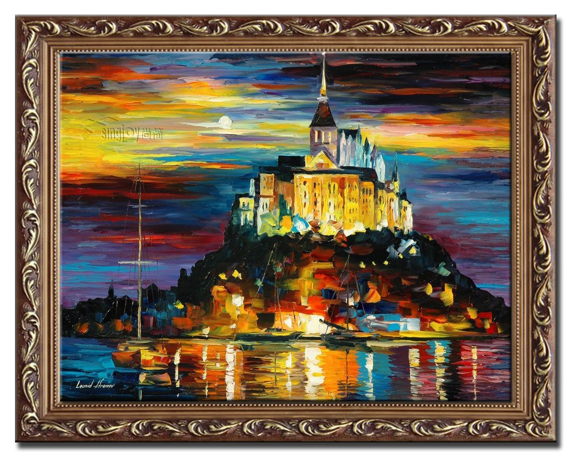 尚简 尚简 家居客厅欧式壁挂装饰纯手绘油画 leonid afremov 城堡港口