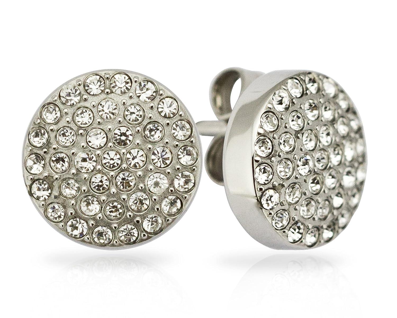 晶配磁石圆形耳钉