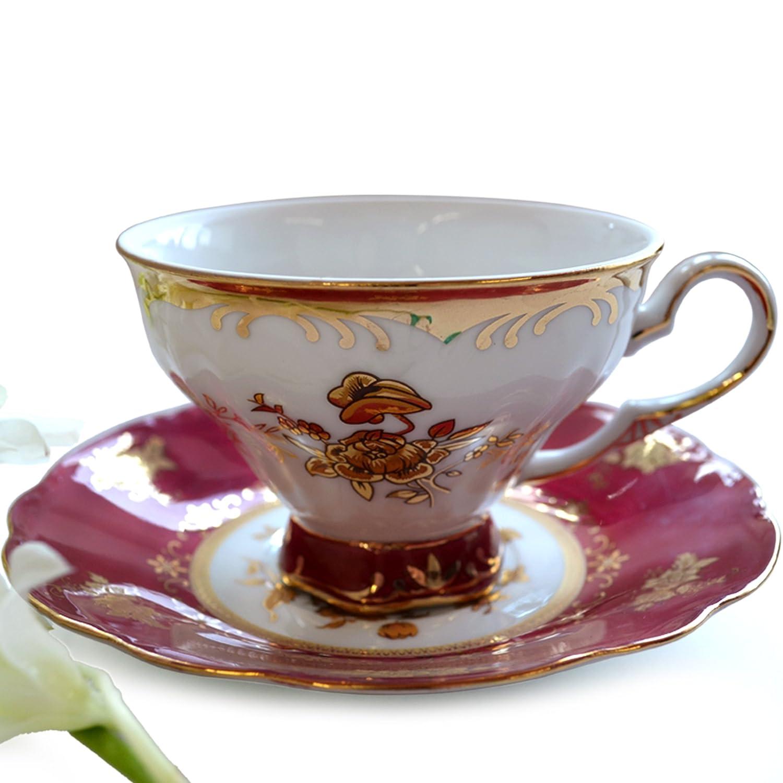 欧式茶杯 英式下午茶 陶瓷 金色牡丹 红边碟子 杯碟二
