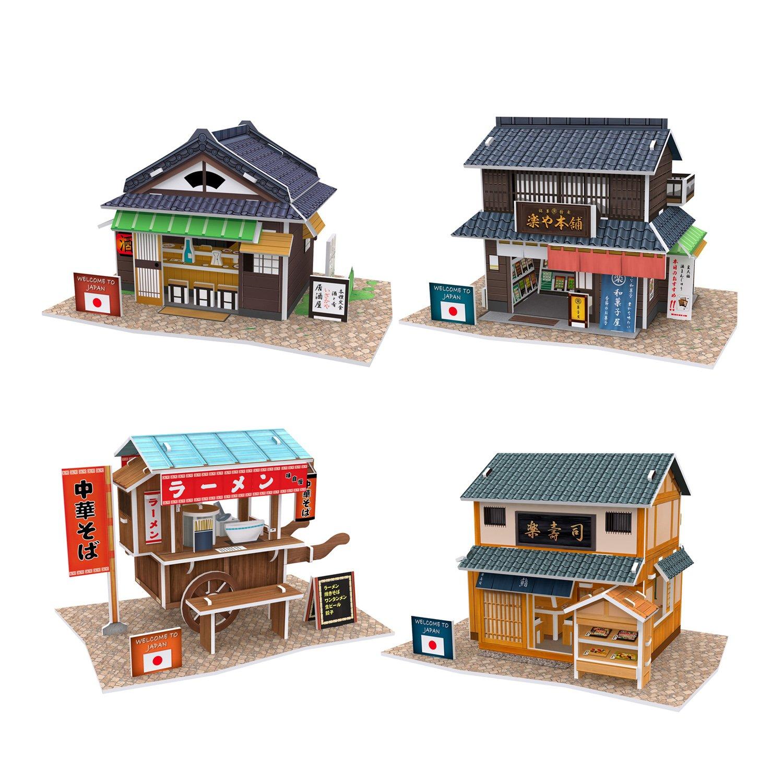 3d立体拼图玩具 世界风情系列 日本风情全套(果子屋+居酒屋+拉面车