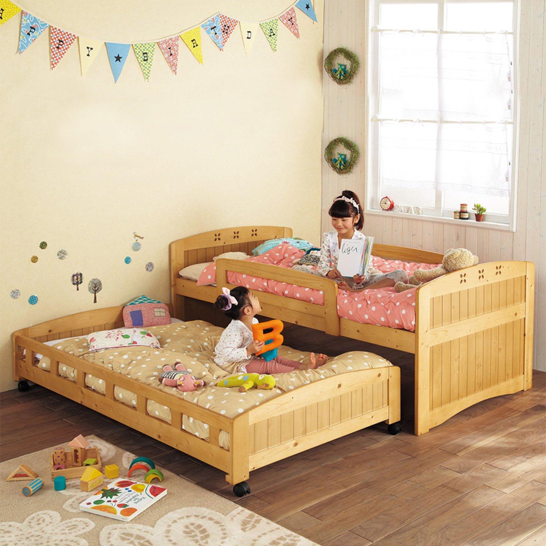 家逸韩式田园儿童床 实木田园床 婴儿床带护栏 带拖床