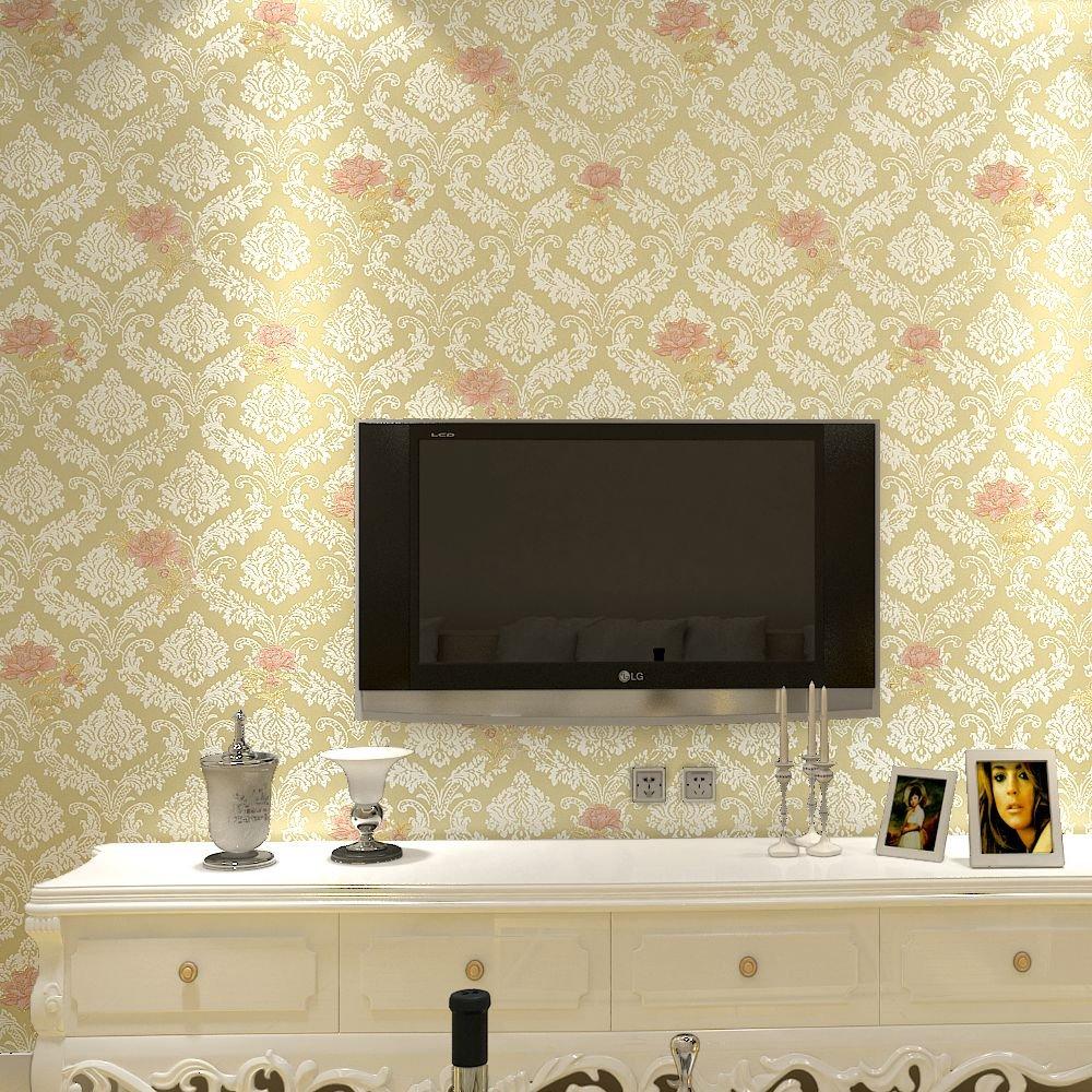 睐可 欧式时尚大马士革田园小花 卧室客厅餐厅玄关壁纸29lk409浅金色