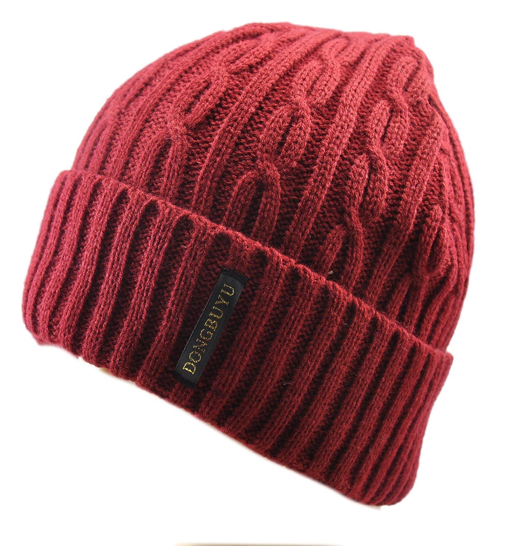 冬布羽 毛线编织加绒内里加厚卷边 护耳套头帽 男士 中国红 均码 3003