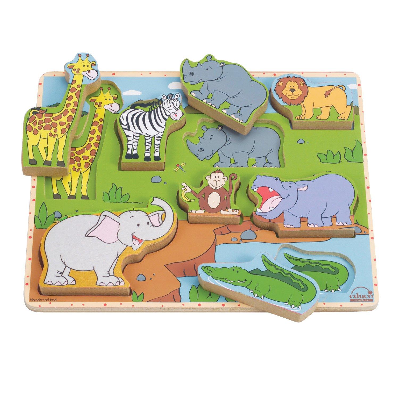 hape 野生动物拼图 木制 平面拼图 早教 认识动物 861