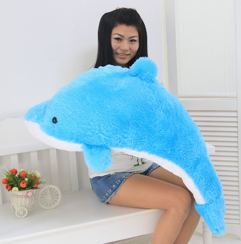 穿越龙 超萌可爱长毛海豚娃娃 大号海豚毛绒玩具公仔抱枕靠垫 生日