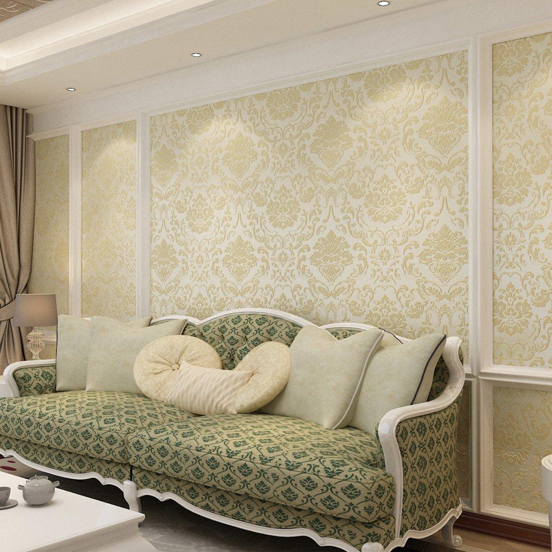 本木 简欧式3d电视背景墙纸卧室大马士革绿色环保无纺布壁纸客厅(黑色
