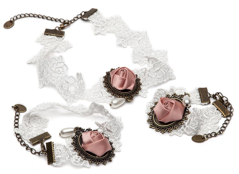 sasa 公主 欧式复古新娘伴娘蕾丝项链手链脚链三件套