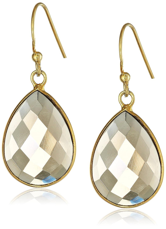 Gold-Plated Smoky Quartz Teardrop Earrings-珠宝首饰-亚马逊中国-海外购 美亚直邮