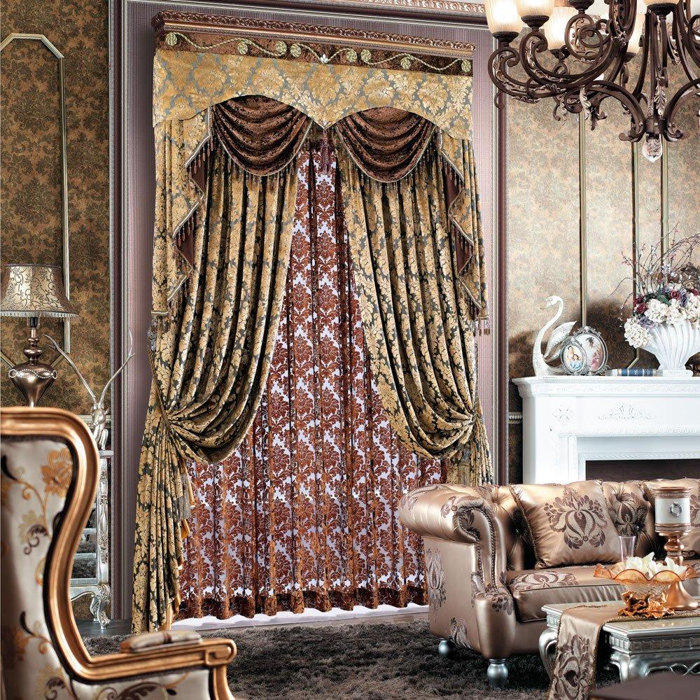 摩尔登 欧式烫金绒布高档客厅别墅古典窗帘 成品宽1米