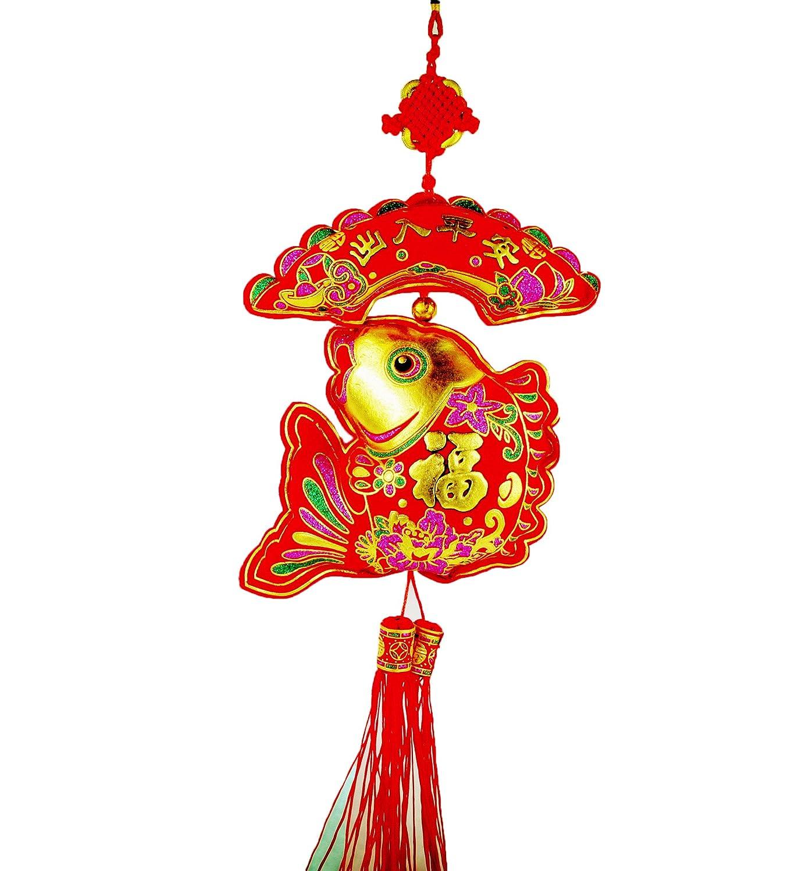派对小礼品 中国特色扇形弯鱼挂件 高档植绒烫金新年装饰挂件 喜庆