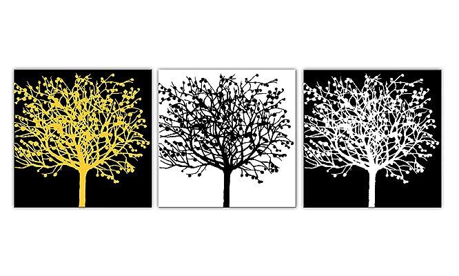 qimei 琪美 富贵树挂画 客厅三联画 现代装饰画 卧室无框画 电表箱墙