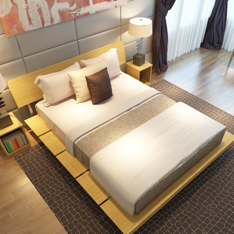 择木宜居 简约现代板式床双人床 单人床大床木床榻榻米床 浅橡色 1.