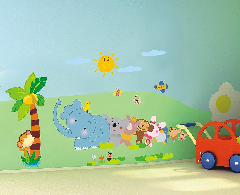 艺术墙贴 三代可移除墙贴纸儿童卡通背景贴教室幼儿园装饰画动物ay639
