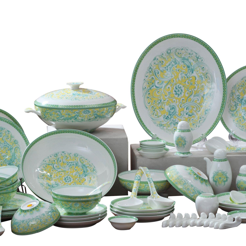 huaguang ceramics华光陶瓷敦煌凤舞62头礼盒餐具套装图片