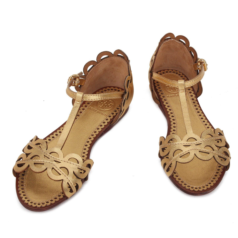 女款真皮金色平底凉鞋