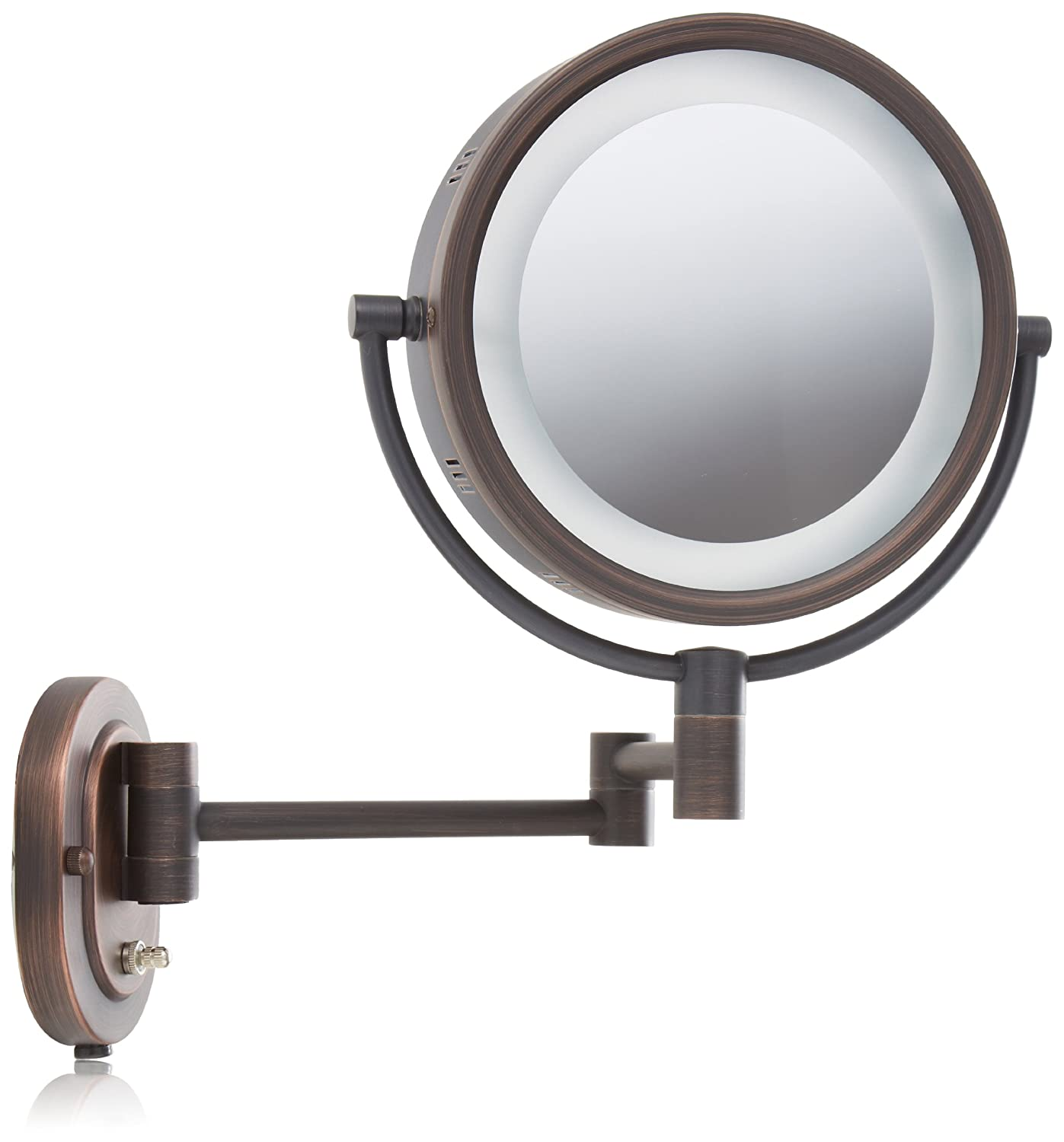 jerdon hl65bz 8-inch lighted wall mount makeup mirror with 5x